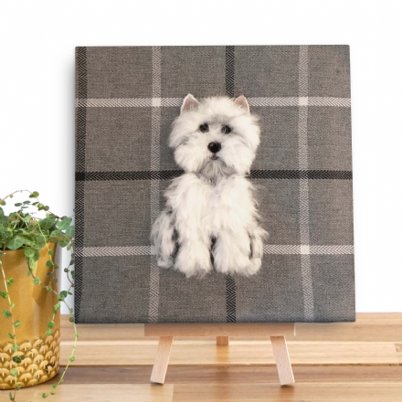 Westie Mini Wooden Canvas by Sharon Salt